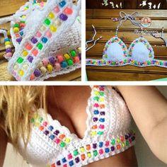 Crochet Bikini Top Pattern Neckline Ideas For 2019 Top Tejidos A Crochet, Love Crochet, Beautiful Crochet, Crochet Baby, Knit Crochet, Crochet Stitches, Crochet Patterns, Crochet Bathing Suits, Crochet Bikini Top