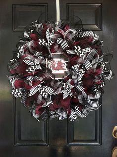 Large Mesh Ribbon Wreath South Carolina Gamecocks Football College Baseball Team Garnet Black White