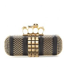 Alexander McQueen Skull Knuckle Embellished Box Clutch With Leather