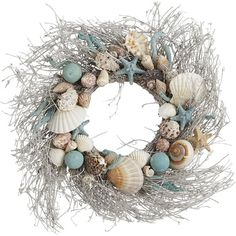 """Pier 1 Imports Coastal Shells 20"""" Wreath (510 SEK) ❤ liked on Polyvore featuring home, home decor, sea shell wreath, pier 1 imports, coastal home accessories, coastal wreath and seashell wreath"""