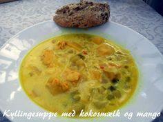 Kyllingesuppe med kokosmælk og mango - http://www.findeopskrifter.dk/o/kyllingesuppe-med-kokosm%C3%A6lk-og-mango-672081.html
