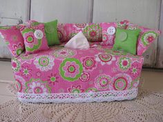 Couch Tissue Box Cover Kleenex Box Cover Bright by chickenhearts