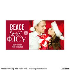 Peace Love Joy Red Snow Holiday Photo Cards #Christmas