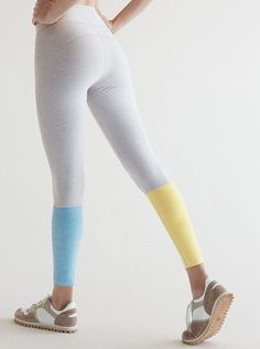 Our best leggings for every day. Fit like a dream and won't show sweat. Blue and yellow pastel color block leggings. Workout Attire, Workout Wear, Workout Outfits, Athletic Outfits, Athletic Wear, Best Leggings, Leggings Store, Gym Leggings, Printed Leggings