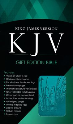 Box Cover - KJV Bible, Lux Leather, Zipper, Turquoise