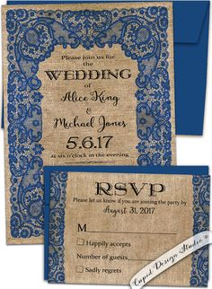 Vintage lace and burlap Royal blue wedding by CupidDesigns on Etsy