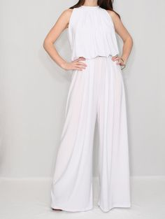 Womens White Jumpsuit Wide Leg Jumpsuit Palazzo by KSclothing, $49.00