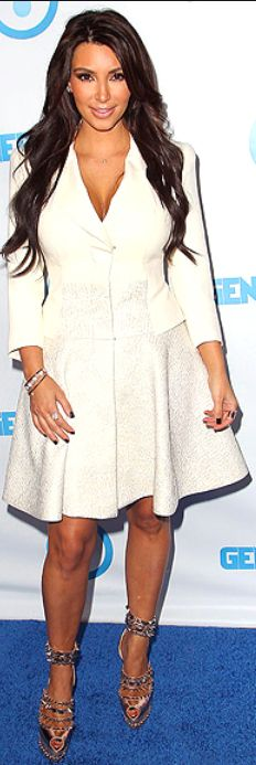 Kim Kardashian: Jacket dress – Antonio Berardi    Shoes – Christian Louboutin