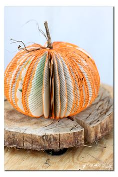Look!  A pumpkin made from an old book - and there's a tutorial - love this idea for diy fall decor! book pumpkin craft - - -Sugar Bee Crafts