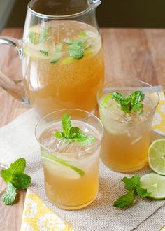 Mint lime tea cooler - Substitute the sugar for honey or drink it natural without any other addition .