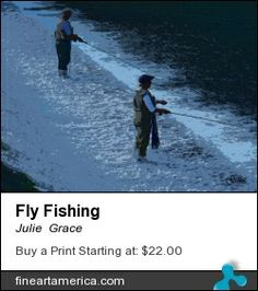 Mixed media photograph of fly fisherman fishing the spillway at Bennett Spring State Park, Lebanon, Mo.