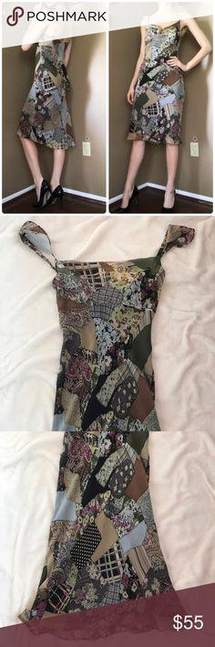 BCBGMaxAzria Silk Patchwork Print Dress In like new condition. BCBGMaxAzria Dresses Midi