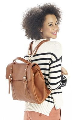 Cognac convertible backpack that can also be worn as a shoulder bag or top handle tote