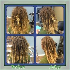 Before & After.  #dreads #dreadlockmaintenance #caucasiandreadlocks
