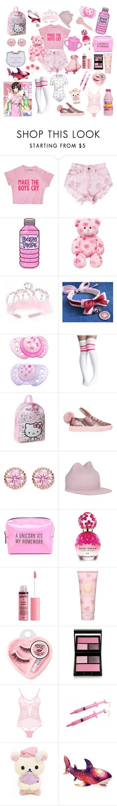 """My bad little cutie!💞💖"" by rainythedarklord ❤ liked on Polyvore featuring Levi's, cutekawaii, CHICCO, Hello Kitty, Minna Parikka, Thomas Sabo, Maison Michel, Pinch Provisions, Marc Jacobs and Charlotte Russe"