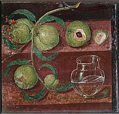 Peaches & water - a fresco from a house in Herculaneum