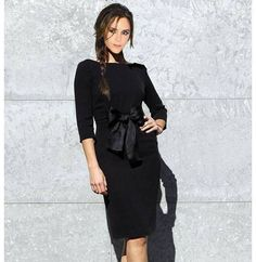 Womens dresses fashion 2014 Stand Up Collar 3/4 Sleeve Slim Fit Belt vintage Pencil With Epaulettes,victoria beckham Black dress-inDresses from Apparel & Accessories on Aliexpress.com   Alibaba Group