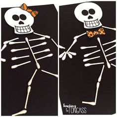 October - D - Q-tip Skeletons - Have students assemble and glue skeletons and decorate for their gender. Celebrate Halloween in the classroom. Plenty of Halloween tips and Halloween activities for kids, including Halloween books and Halloween crafts! Halloween Kunst, Halloween Class Party, Halloween Arts And Crafts, Halloween Crafts For Toddlers, Halloween Halloween, Halloween Recipe, Women Halloween, Halloween Makeup, Halloween Costumes
