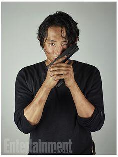 'Walking Dead': New EW Character Portraits, Glenn Rhee. Love this, Glenn is kissing his gun.