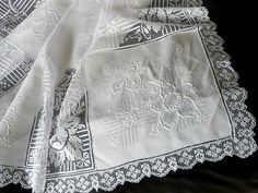 Your place to buy and sell all things handmade Lace Tablecloths, Linen Tablecloth, White Embroidery, French Lace, Ladder, Beautiful Flowers, Floral Design, Napkins, Monogram