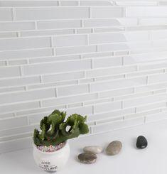 Glass Backsplash Kitchen, Mosaic Backsplash, Glass Mosaic Tiles, Glass Kitchen, Kitchen Tiles, Kitchen Decor, Backsplash Panels, White Brick Backsplash, Granite Backsplash