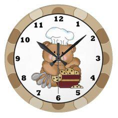 Baking Cookie Bear wall clock