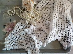 "Hand Made Cream Crochet Valance, 110"" by 14"", Window Topper, Lacy, Drapery, Window Dressing, French Country, by mailordervintage on etsy Lace Curtain Panels, Window Toppers, Braided Rag Rugs, Embroidered Roses, Vintage Curtains, Baby Blue Colour, Window Dressings, Vintage Crochet, Drapery"