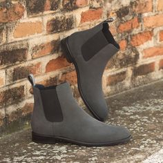 The Women's Chelsea Boot in Grey Luxe Suede and Polished Calf Leather - Robert August Apparel Custom Made Shoes, Custom Design Shoes, Slip On Boots, Women's Boots, Mens Boots Fashion, Buckle Boots, Calf Leather, Shorts, Lady