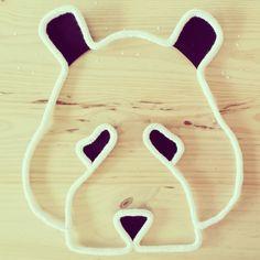 trophée panda en laine blanche et noire : Décoration pour enfants par 123ptitspois