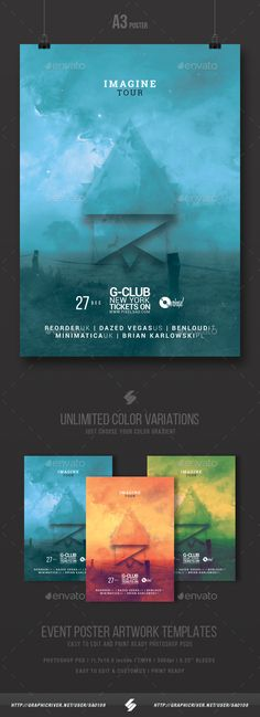 Imagine Tour - Minimal Party Flyer / Poster Template A3