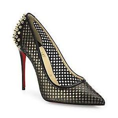Christian Louboutin Women's Guni Spiked Perforated Leather Point Toe Pumps - Black Gold - Size 38 (8)