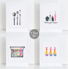 4 Piece Makeup Set Printable, Makeup Wall Art, Teen Wall Printable, Makeup…