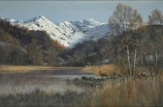 Colin Burns (1944-): Roe Deer, Rydal Water, Cumbria