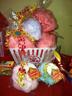 Cotton Candy Party Favors ...circus /carnival theme Carnival Themed Party, Carnival Birthday Parties, Circus Birthday, Circus Party, 5th Birthday, Birthday Party Themes, Birthday Ideas, Cotton Candy Party, Candy Party Favors