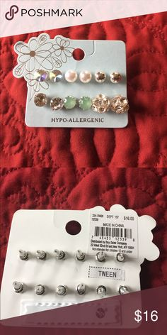 NWT HYPO-ALLERGENIC EARRINGS 6 pairs of earrings included white & silver balls, green gems, geometric shaped, and two pairs of circular earrings. Nice assortment! Jewelry Earrings