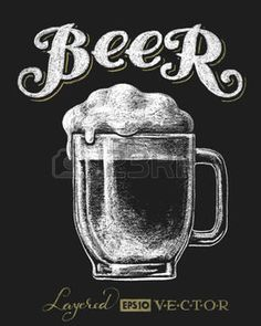 beer mug: Vector illustration of chalk beer glass on blackboard. Eps10. Transparency used. RGB. Global colors. Gradients free. Each elements are grouped separately