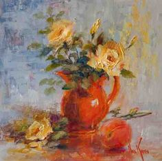 """""""Red Geraniums"""" (Reworked) © Nora Kasten Oil on linen on board Reworked July 2012 """"Peach With Francisca. Flower Vases, Flower Art, Art Flowers, Garden Painting, Painting Art, Art Archive, Impressionist Paintings, Chinese Painting, Abstract Flowers"""