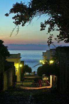 Night view of Colonia del Sacramento, Uruguay.