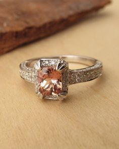 Padparadscha Sapphire and Diamonds by kateszabone on Etsy, $2995.00