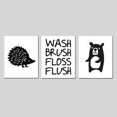 Woodland Bathroom Decor Woodland Bathroom Art Forest Animal Bathroom Decor Kids Bathroom Art Wash Brush Floss Flush Set of 3 Prints / Canvas Small Bathroom Layout, Kid Bathroom Decor, Wash Brush, Forest Animals, Woodland, Wrapped Canvas, Vibrant Colors, Canvas Prints, Painting