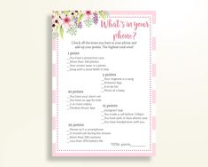 What's In Your Phone Baby Shower What's In Your Phone Pink Baby Shower What's In Your Phone Baby Shower Flowers What's In Your Phone 5RQAG - Digital Product #babyshowergifts #babyshowerideas