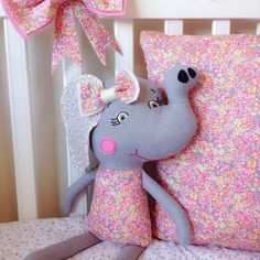 Miss Chive Elephant / Premium Cloth Doll featuring Liberty Art Fabric / Luxury Unique Handmade Gift / Girls Baby Nursery Bedroom Decor Gift