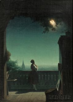 Continental School, 19th Century Woman in Moonlight on a Balcony | Sale Number…