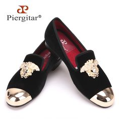 57bced6a10cb New Fashion Gold Top and Metal Toe Men Velvet Dress shoes Men Handmade  Loafers Plus Size