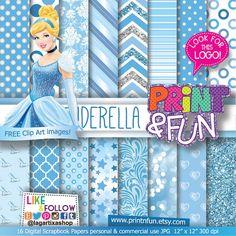 Cinderella Patterns Digital Paper Princess, clip art Background Patterns glitter blue celest Party Printables bottle labels favor boxes