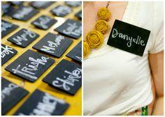 chalkboard nametags - simple wood cards w/ chalkboard paint & pin on backs
