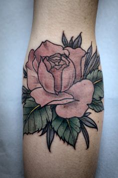 Color done on dusty rose tattoo - Alice Carrier at Anatomy Tattoo in Portland, Oregon.