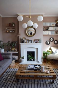 Scandinavian Living Room makeover muted pink neutrals mid-century simple design West Elm Farrow Ball Dead Salmon Craft luxe interior design ideas and inspiration Mid Century Living Room, New Living Room, Living Room Kitchen, Living Room Interior, Home Interior, Interior Design, Small Living, Modern Living, Farrow And Ball Living Room