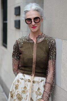 Linda Rodin in a vintage skirt paired with a sheer, rhinestone embellished Pauline Trigere blouse that was originally part of a full dress design (Advanced Style)