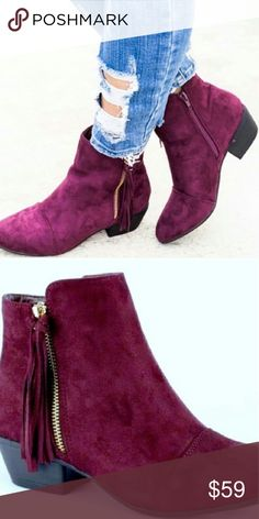 50% off sale, 1hr!NIB  wine colored fringe boots!! Super cute ankle boots!! Shoes Ankle Boots & Booties